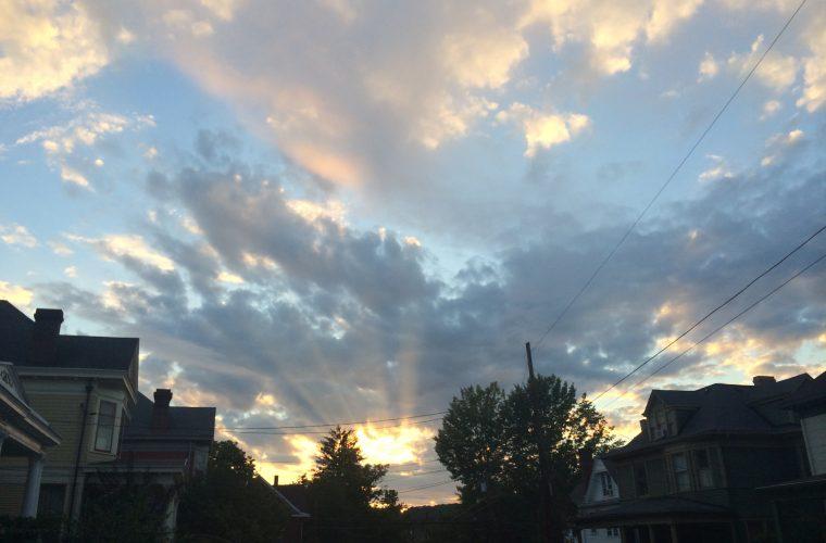 Darkening sky over a town