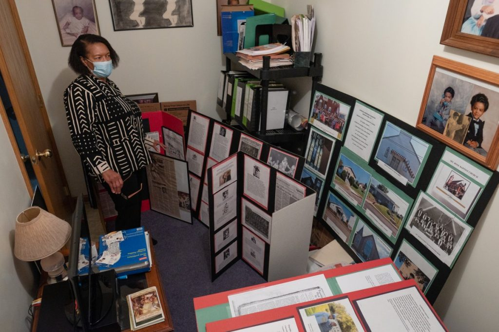 Dr. Norma Thomas dedicated a guest bedroom in her home to the collection of historical documents and genealogical research that started her traveling Black history museum. She hopes to permanently install this collection at nearby John Wesley AME Zion Church. Photo Justin Hayhurst/100 Days in Appalachia