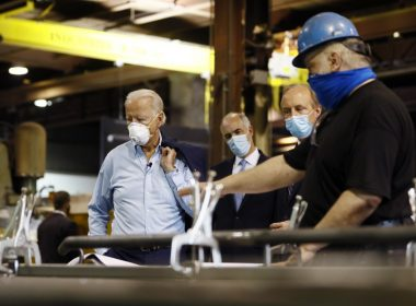 image of President Biden, Sen. Bob Casey (D-Pa) and McGregor Industries owner Bob McGregor talking with First Class Fitter Michael Phillips