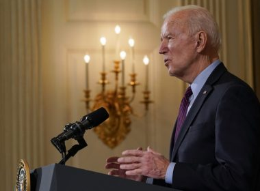 President Joe Biden speaks about the economy in the State Dinning Room of the White House, Friday, Feb. 5, 2021, in Washington. Photo: Alex Brandon/AP