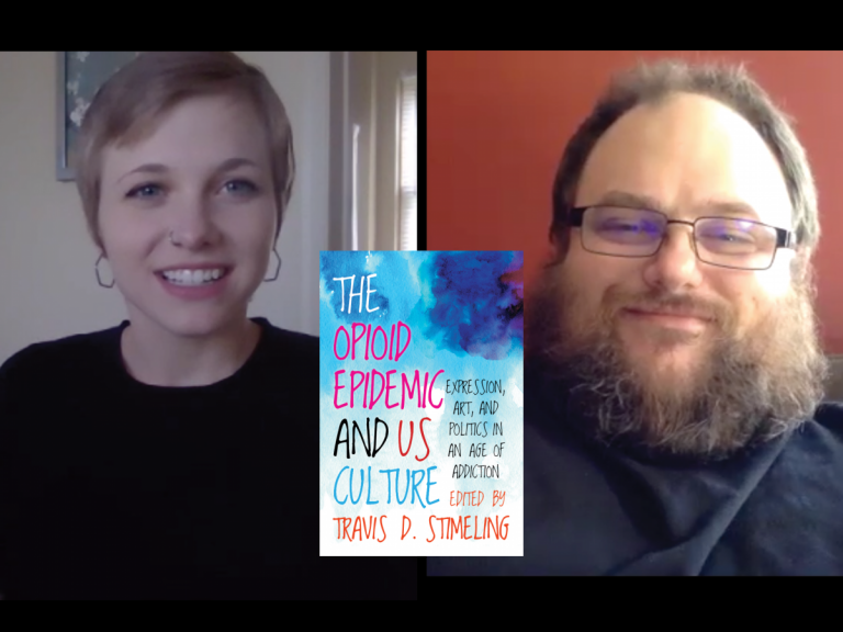 screenshot of two people in a Zoom interview with book cover between them.