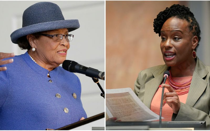 Left, U.S. Rep. Alma Adams, D-N.C. is seen during a voting rally for democratic candidate Kathy Manning at Bennett College in Greensboro, N.C., Friday, Oct. 19, 2018. Right, in this March 2, 2020, file photo, state Rep. Attica Scott, D-Louisville, speaks on the floor of the House of Representatives at the Capitol in Frankfort, Ky. Felony rioting charges were dropped Tuesday, Oct. 6, 2020, against the Kentucky lawmaker and others arrested last month during protests demanding justice for Breonna Taylor. Photo: Gerry Broome and Bryan Woolston/AP Photo