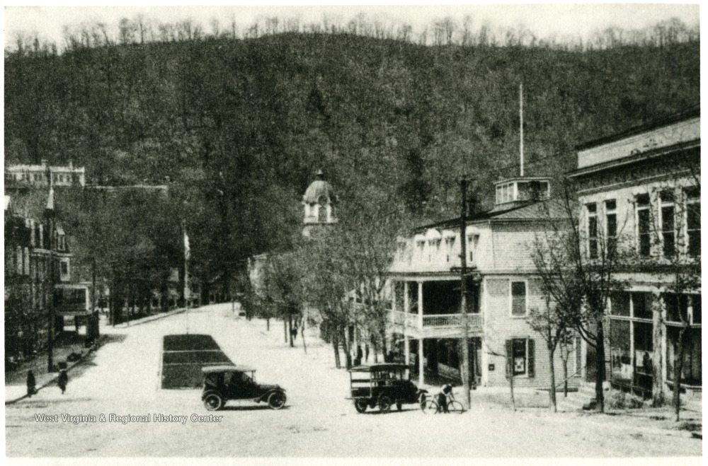 In the distance of Fairfax Street in Berkeley Springs, West Virginia, sits the Morgan County Courthouse. Photo Courtesy: West Virginia and Regional History Center
