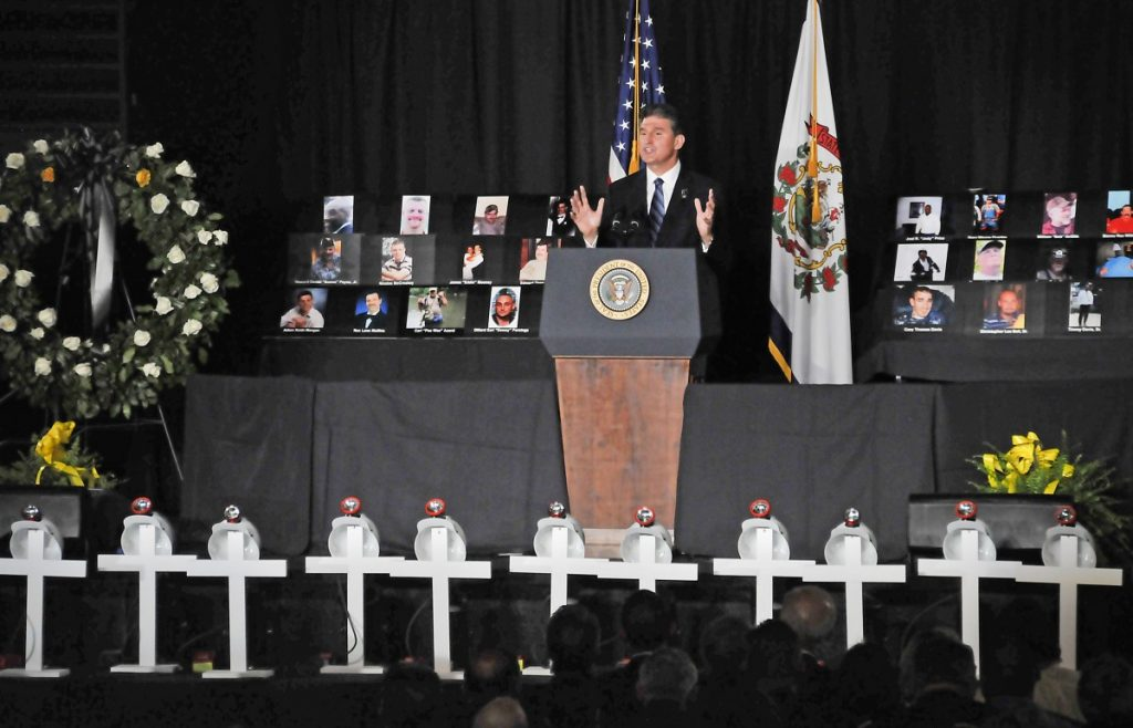 Then-Governor Joe Manchin's time in office was marred with some of the worst coal mine disasters in the nation's history. Pictured here, Manchin speaks at a memorial service for the 29 men killed in the Upper Big Branch Mine Disaster of 2010. Photo: Steve Rotsch/Provided