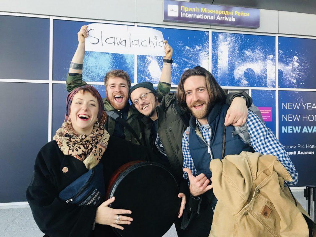 Left to right, Marichka Chichkova, Brett Hill, Siarhei Douhushau and Benjamin Stewart - the full Slavalachia lineup - first met in the Lviv, Ukraine, airport January 16, 2020. Photo: Nadzeya Ilkevich/Provided