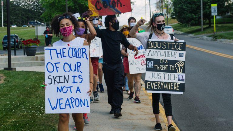 Black Lives Matter activists march through Terra Alta, West Virginia, on July 10, 2020. Photo: Chris Jones/100 Days in Appalachia