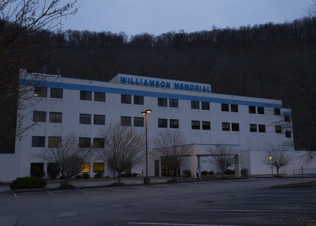 Williamson Memorial Hospital first closed in 2018. It was purchased by local businessmen who were able to keep it open until April 2020 when it closed a second time. Photo: Stacy Kranitz/100 Days in Appalachia