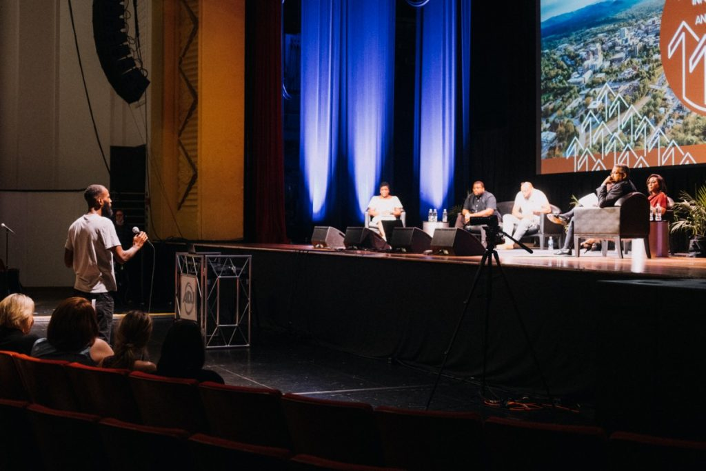 The June Information and Truth Telling session were phase 1 of Asheville City Manager Debra Campbell's three-part plan to explore reparations for Black citizens. This session was held on June 17, 2021, at Harrah's Cherokee Center. Photo: Hunter Rentz/100 Days in Appalachia