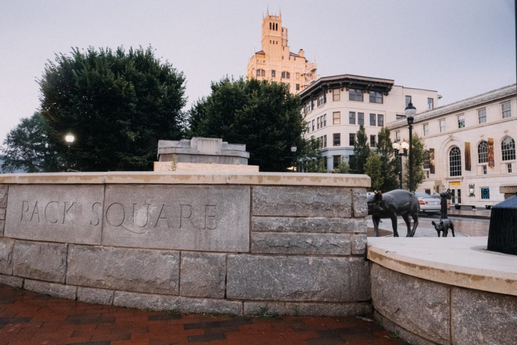 What's left of the Vance Monument can be seen just beyond the Pack Square boundaries in Asheville, North Carolina. Photo: Hunter Rentz/100 Days in Appalachia