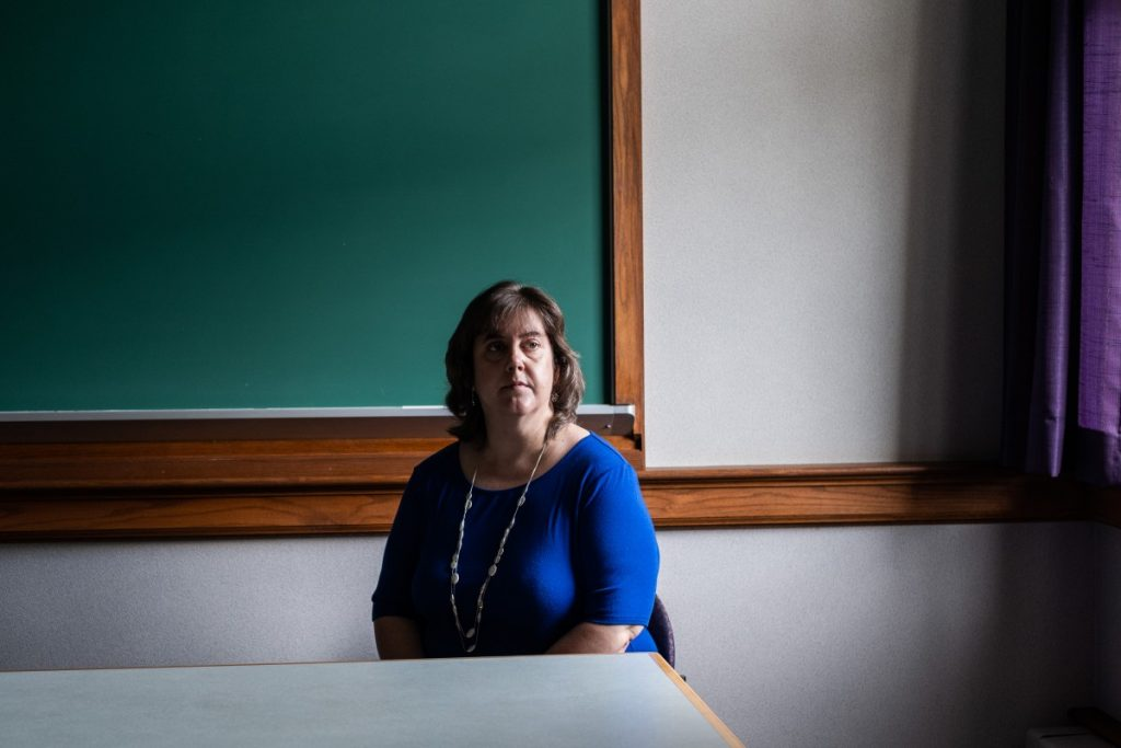 Dr. Leanna K. Fuller poses in a classroom on the campus of the Pittsburgh Theological Seminary, a private institution affiliated with the Presbyterian Church (U.S.A.). Photo: Chris Jones/100 Days in Appalachia
