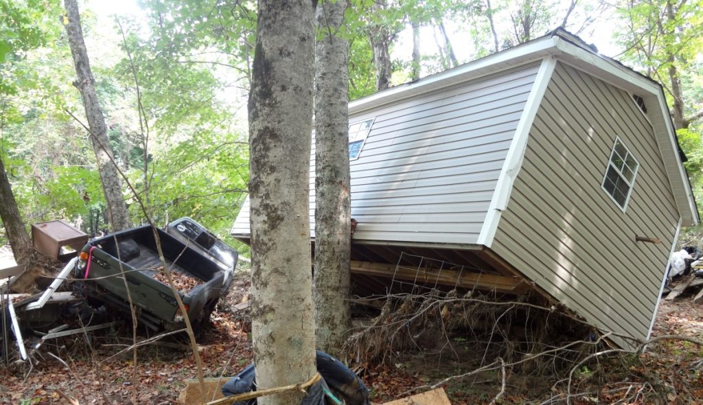 Damage from summer flooding in Caruso, North Carolina. Photo: Taylor Sisk/100 Days in Appalachia