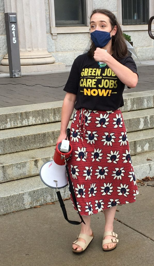 """Chelsea White, a local activist, speak at the Sept. 19 """"March on Cawthorn"""" rally in Waynesville, North Carolina. Photo: Taylor Sisk/100 Days in Appalachia"""